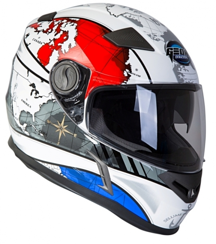 Шлем GEON 952 Интеграл белый-синий