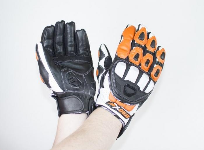 Мотоперчатки кожаные Atrox PREDATOR NEW Black-Orange