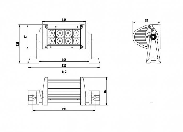 прожектор для квадроцикла ExtremeLED E001 24W 222мм дальний свет