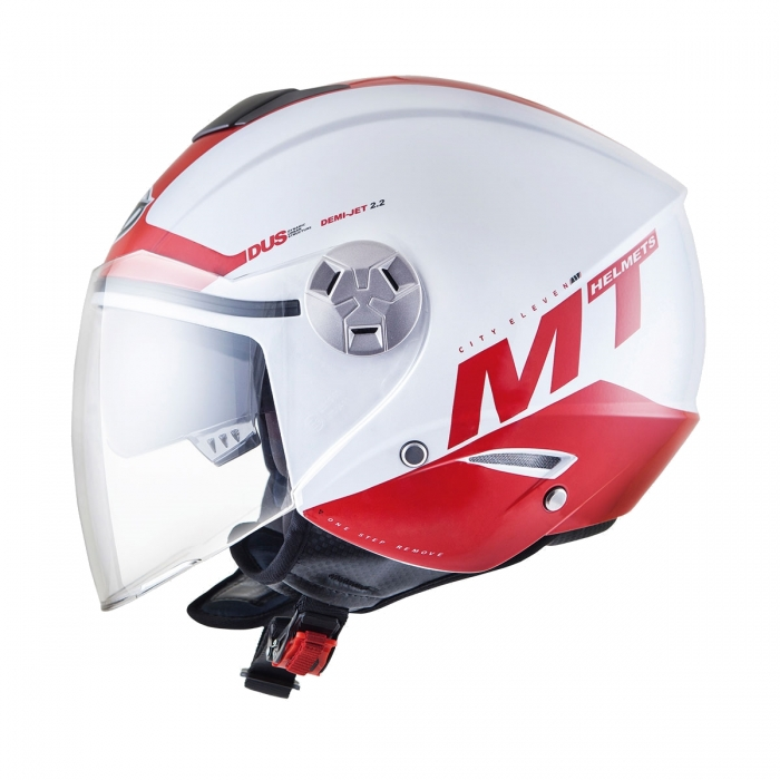 MT Helmets City Eleven Smart gloss pearl white/red