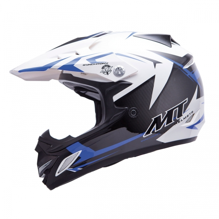 MT Helmets MX2 Synhrony Steel white/blue