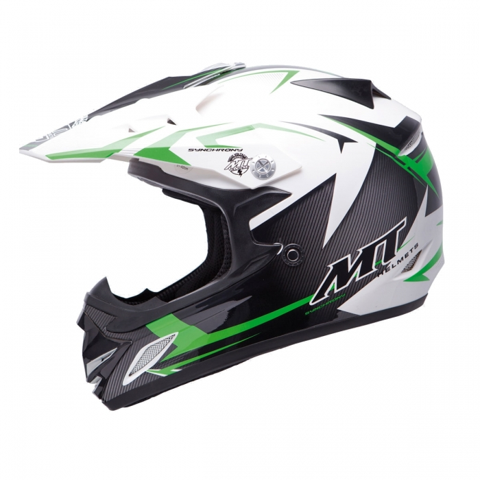 MT Helmets MX2 Synhrony Steel white/green