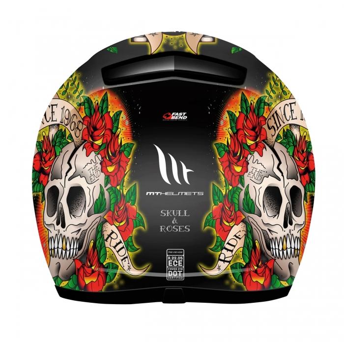 MT Helmets REVENGE Skull & Rose gloss black/red