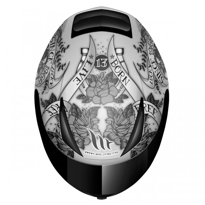 MT Helmets REVENGE Skull & Rose mat silver/anthracite/black