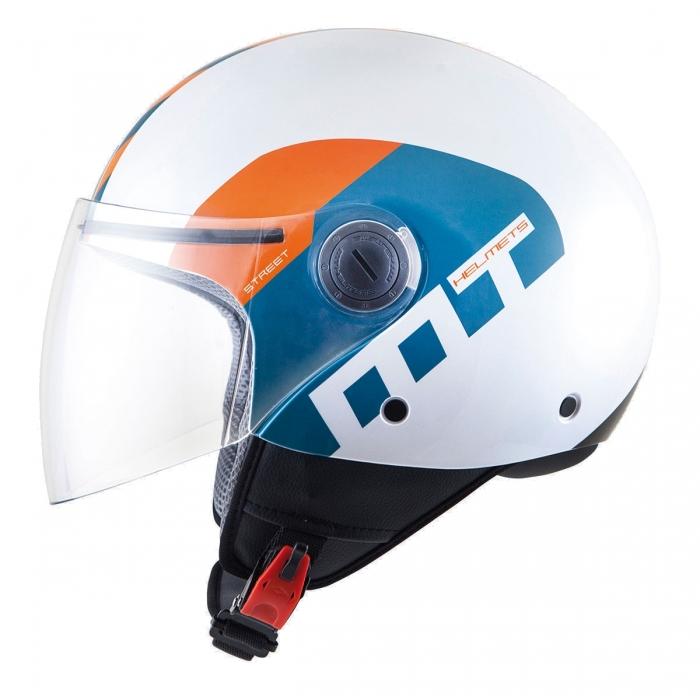 MT Helmets Street Metro pearl white/orange/blue