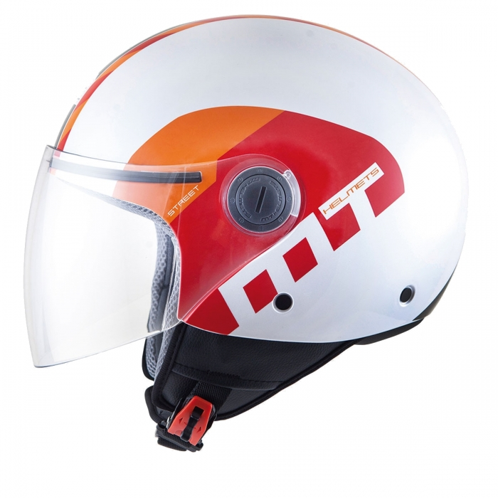 MT Helmets Street Metro pearl white/orange/red