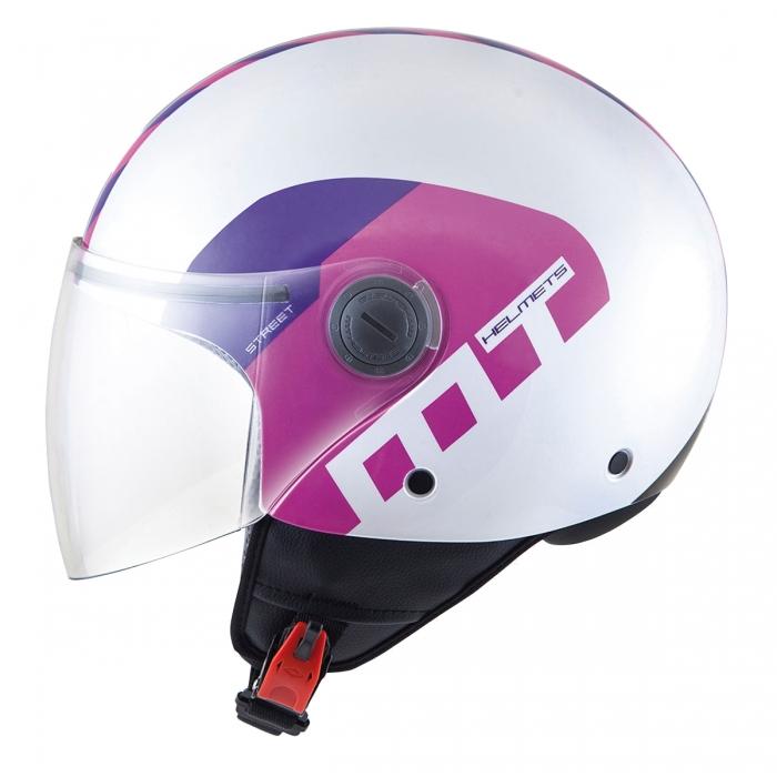 MT Helmets Street Metro pearl white/purple/pink