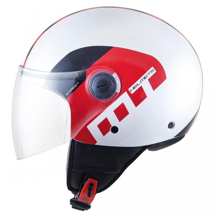 MT Helmets Street Metro pearl white/silver/red