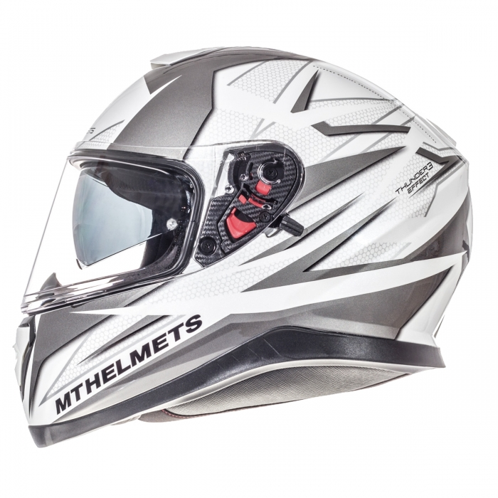 MT Helmets Thunder 3 Effect gloss pearl white/silver anthracite