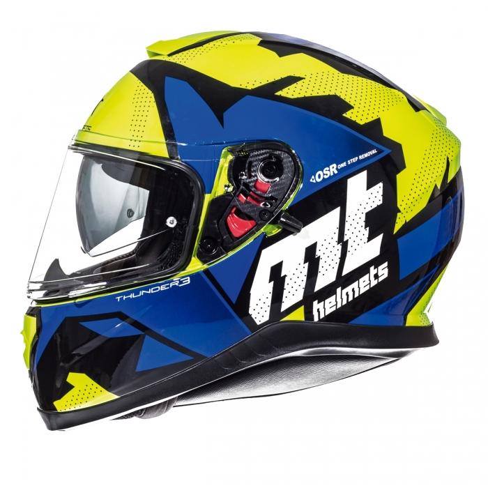 MT Helmets Thunder 3 Torn gloss fluor yellow/blue