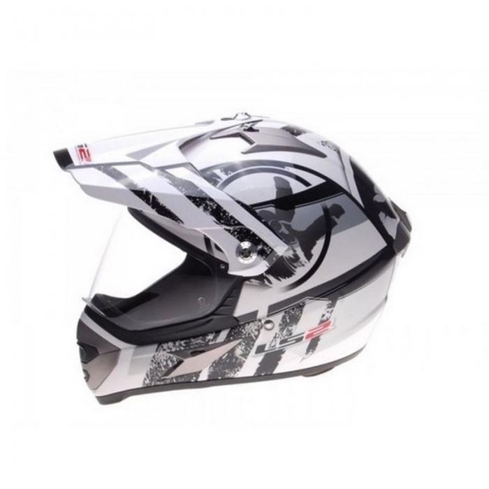 Шлем мотард LS2 MX433 Stripe White Black Gloss