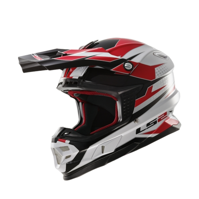 Кроссовый шлем LS2 MX456 Factory Hi-Vis White Black Red Gloss