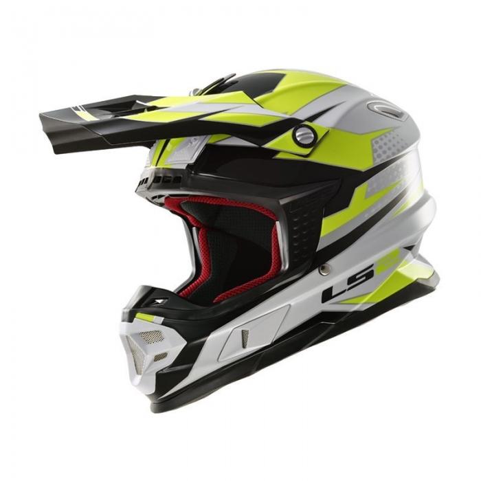 Кроссовый шлем LS2 MX456 Factory Hi-Vis White Black Yellow Gloss
