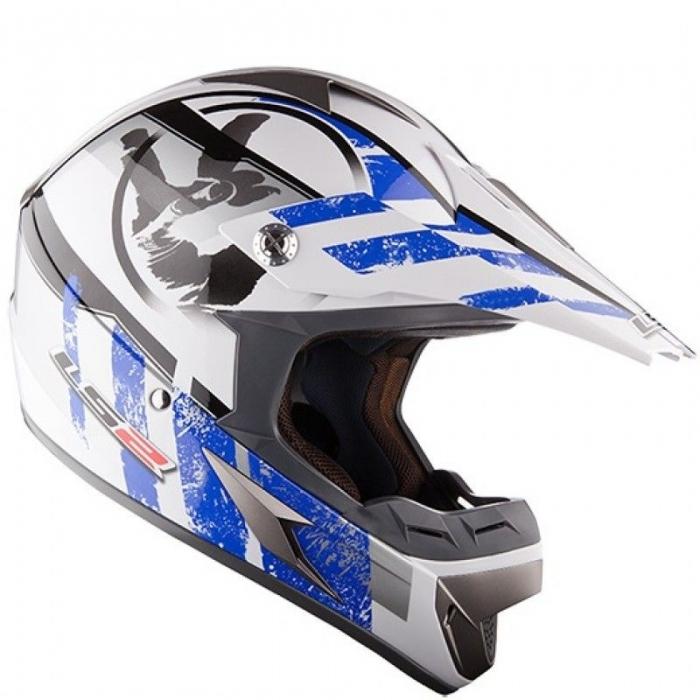 Кроссовый шлем LS2 MX433 Stripe White Blue Gloss