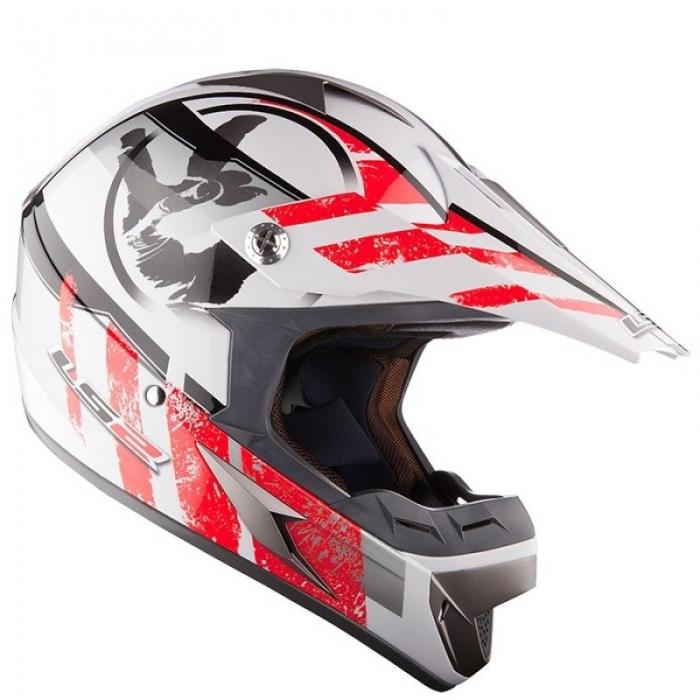 Кроссовый шлем LS2 MX433 Stripe White Red Gloss