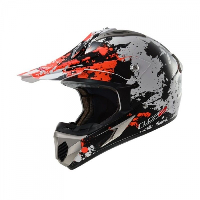 Кроссовый шлем LS2 MX433 Blast White Black Orange Gloss