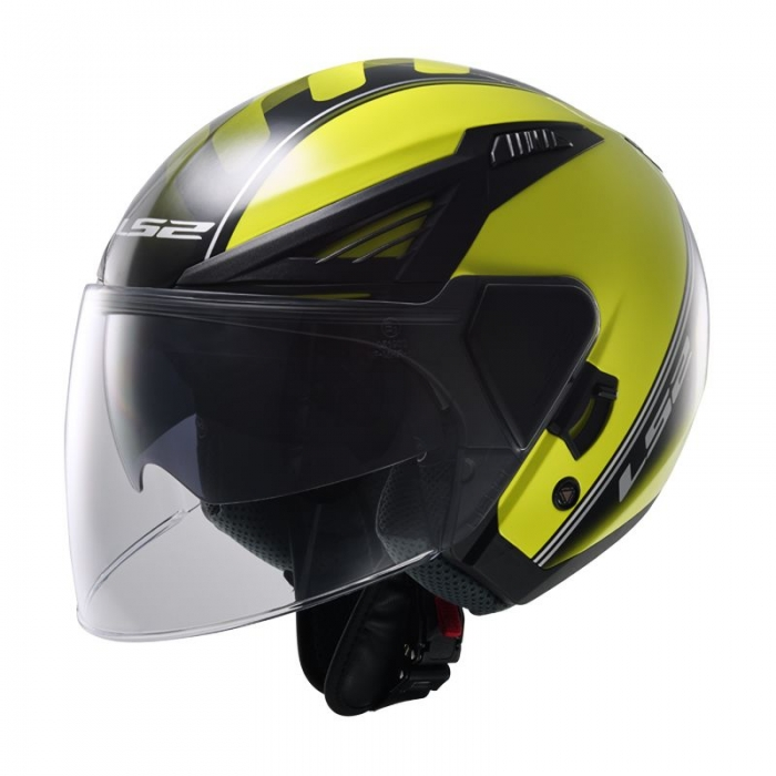 Открытый шлем LS2 OF586 Bishop Atom Hi-Vis Yellow Black