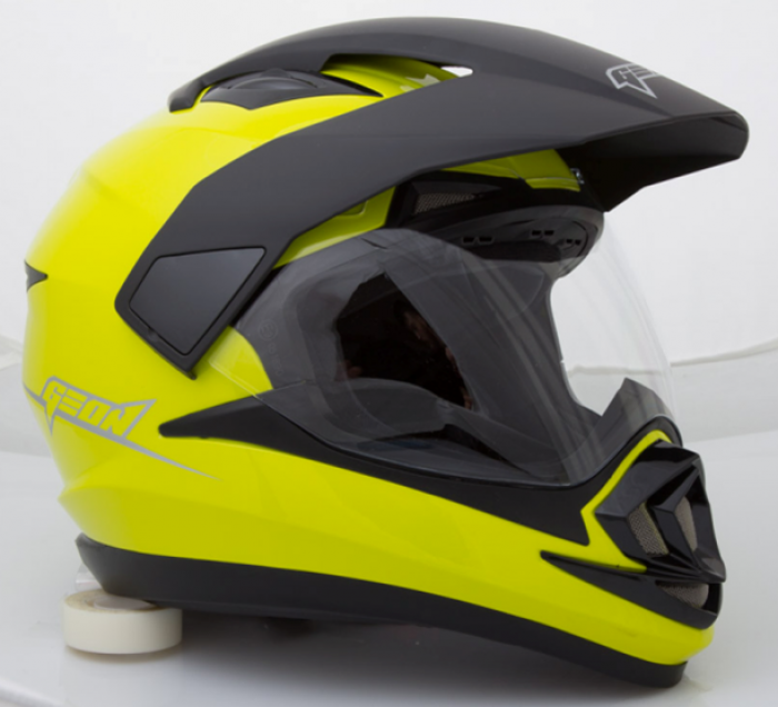 Шлем мотард GEON 714 Дуал-спорт Trek Neon Lemon