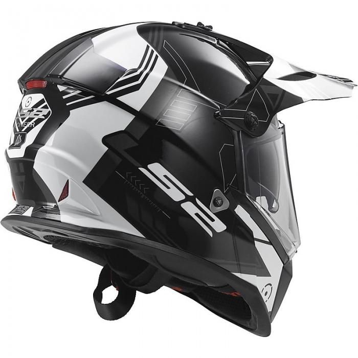 Шлем мотард LS2 MX436 PIONEER TRIGGER BLACK WHITE TITANIUM цена