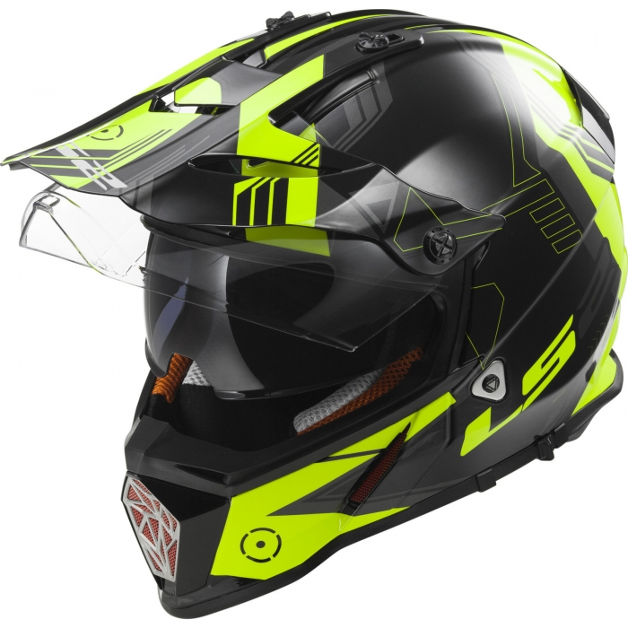 Шлем мотард LS2 MX436 PIONEER TRIGGER BLACK WHITE YELLOW