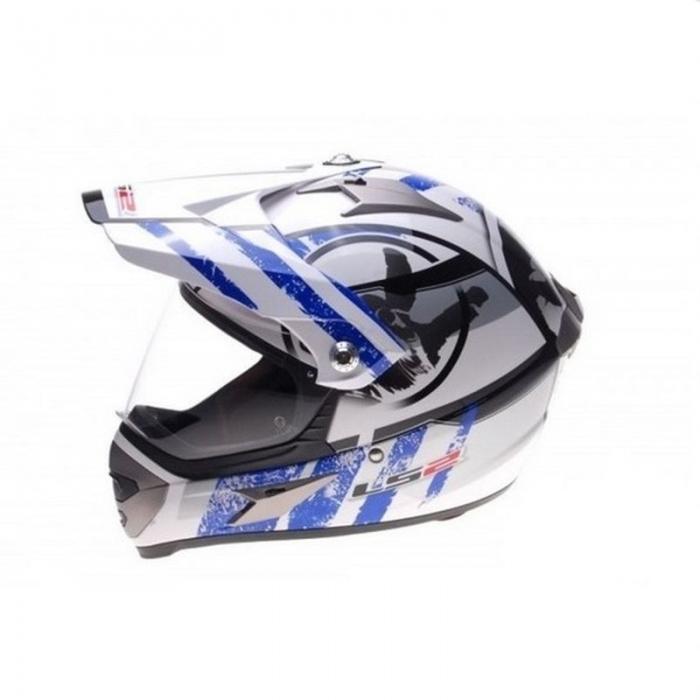 Шлем мотард LS2 MX433 Stripe White Blue Gloss