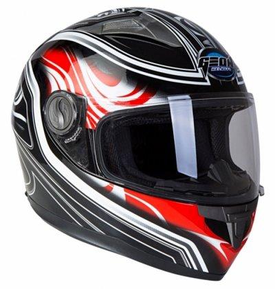 Шлем GEON 968 Интеграл Flame черный-красный