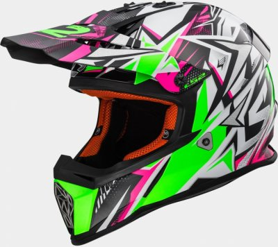 Детский шлем LS2 MX437J FAST MINI STRONG WHITE-GREEN-PINK