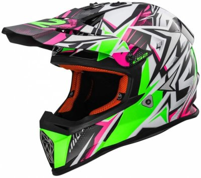 Кроссовый шлем LS2 MX437 FAST STRONG WHITE GREEN PINK