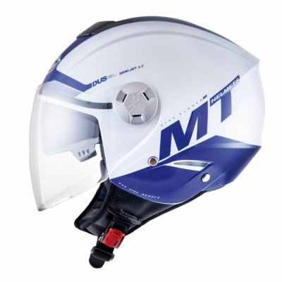 MT Helmets City Eleven Smart gloss pearl white/blue