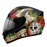 MT Helmets REVENGE Skull & Rose Gloss Black/Red