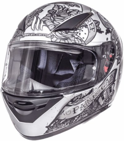MT Helmets REVENGE Skull & Rose Matt Silver/Anthracite/Black