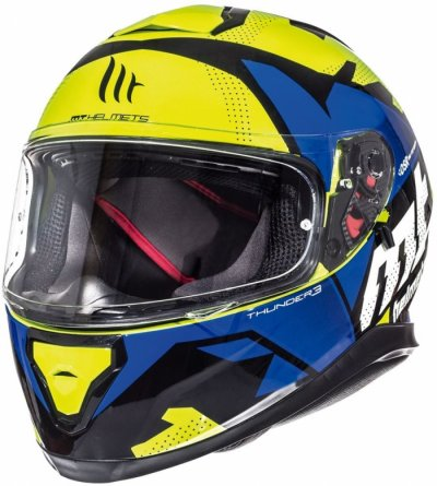 MT Helmets Thunder 3 Torn gloss fluor yellow/blue