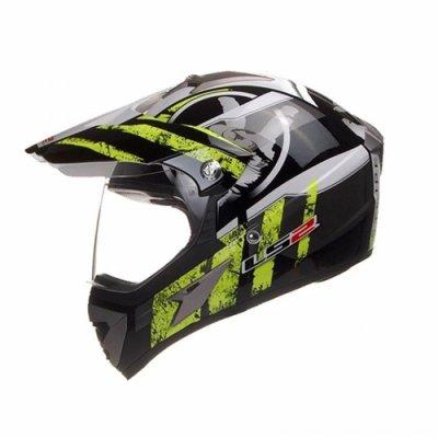 Шлем мотард LS2 MX433 Stripe Hi-Vis Black Yellow