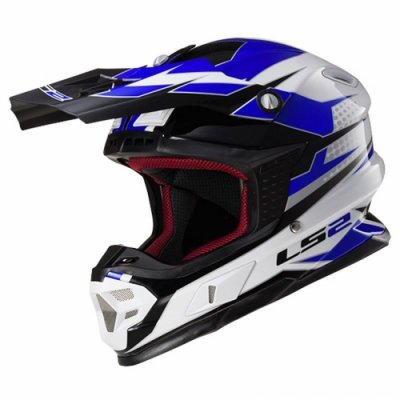 Кросовий шолом LS2 MX456 Factory Hi-Vis White Black Blue Gloss