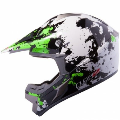 Кросовий шолом LS2 MX433 Blast White Black Green Gloss
