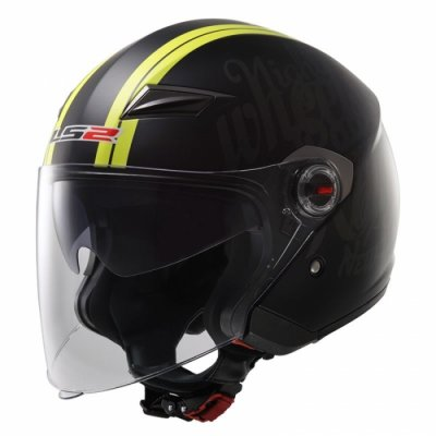 Открытый шлем LS2 OF569 Party Hi-Vis Black Yellow Matt
