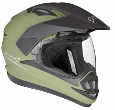 Шлем мотард GEON 714 Дуал-спорт Trek Green Matt