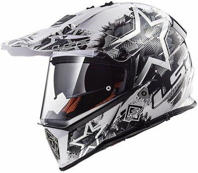 Шолом мотард LS2 MX436 PIONEER CHAOS WHITE BLACK