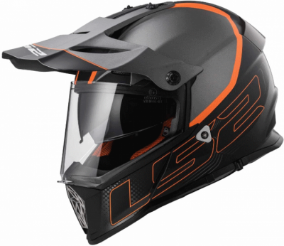 Шлем мотард LS2 MX436 PIONEER ELEMENT TITANIUM BLACK ORANGE