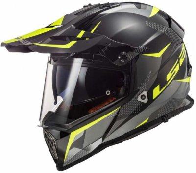 Шлем мотард LS2 MX436 PIONEER RING BLACK TITANIUM HI-VIS