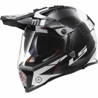 Шлем мотард LS2 MX436 PIONEER TRIGGER BLACK WHITE TITANIUM