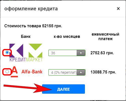 выбор кредитного предложения