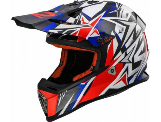Детский шлем LS2 MX437J FAST MINI STRONG WHITE-RED-BLUE