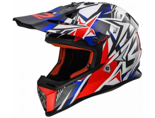 Кроссовый шлем LS2 MX437 FAST STRONG WHITE RED BLUE