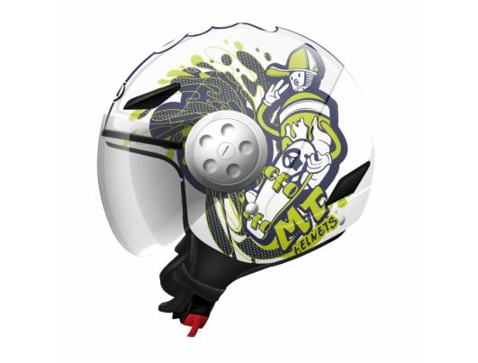MT Helmets Urban Kids Skate Board white/fluor yellow